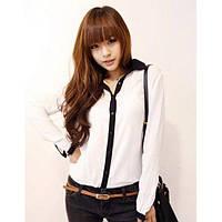 Шифоновая рубашка черный и белый, фото 1