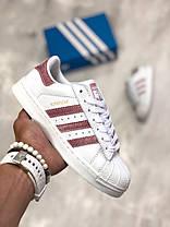 Женские кроссовки Adidas Superstar бело-бордовые топ реплика, фото 2