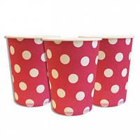 Бумажные стаканчики Горошек розовый (уп.10 шт)