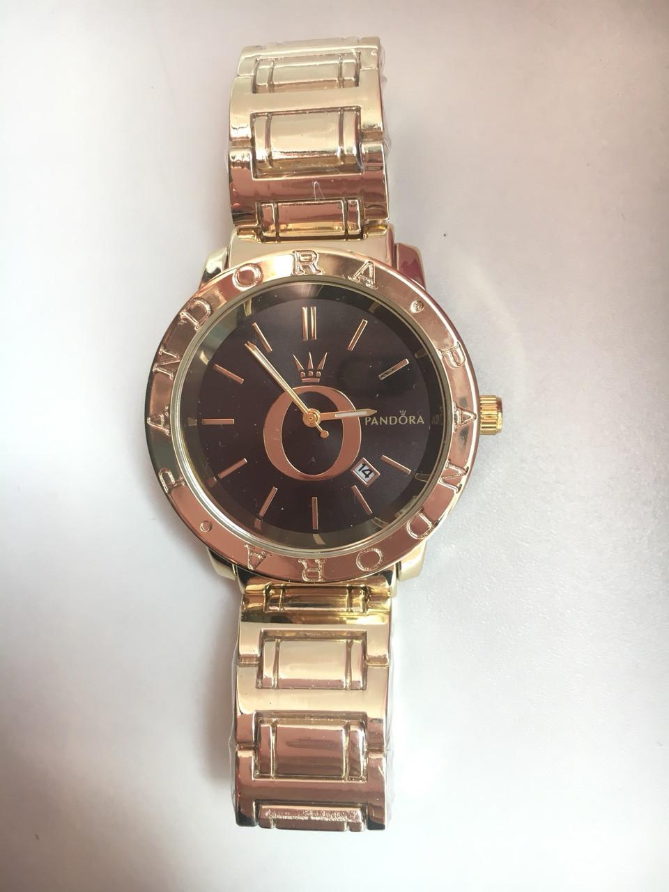 Женские наручные часы Pandora цвета золото с черным циферблатом Пандора