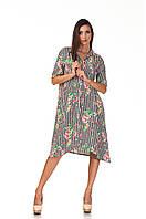 Платье-рубашка ассимитричная. Модель П097_полоска ч.б.с цветами, фото 1