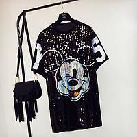 Женское платье туника Mikki с пайетками черное, фото 1
