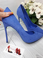 Синие туфли лодочки в наличии,шпилька. круглый носок, фото 1