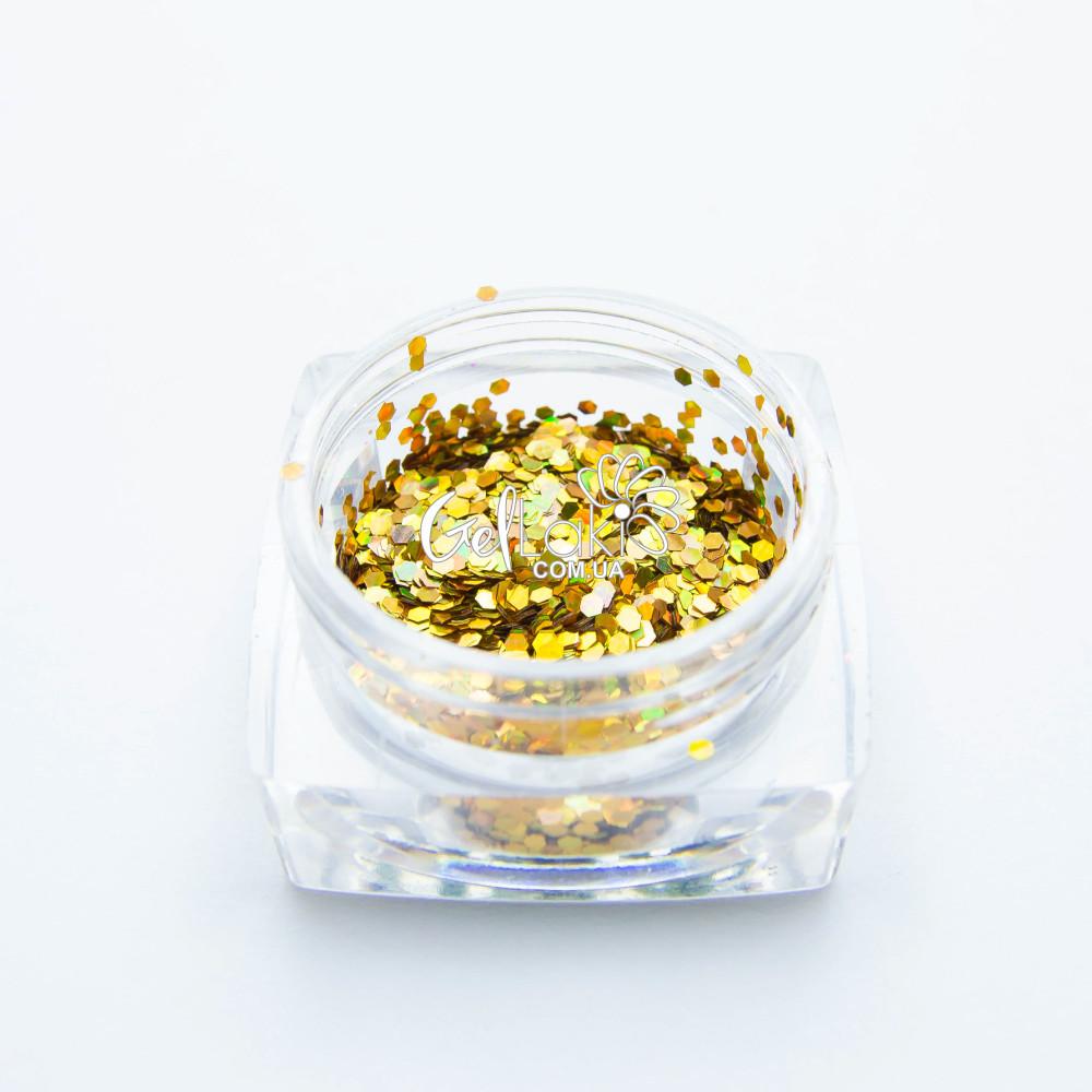 Шестигранники голографические для дизайна ногтей (золото), 040g