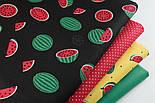 """Ткань хлопковая """"Маленькие арбузы"""" размером 5 см на чёрном фоне (№1408), фото 8"""
