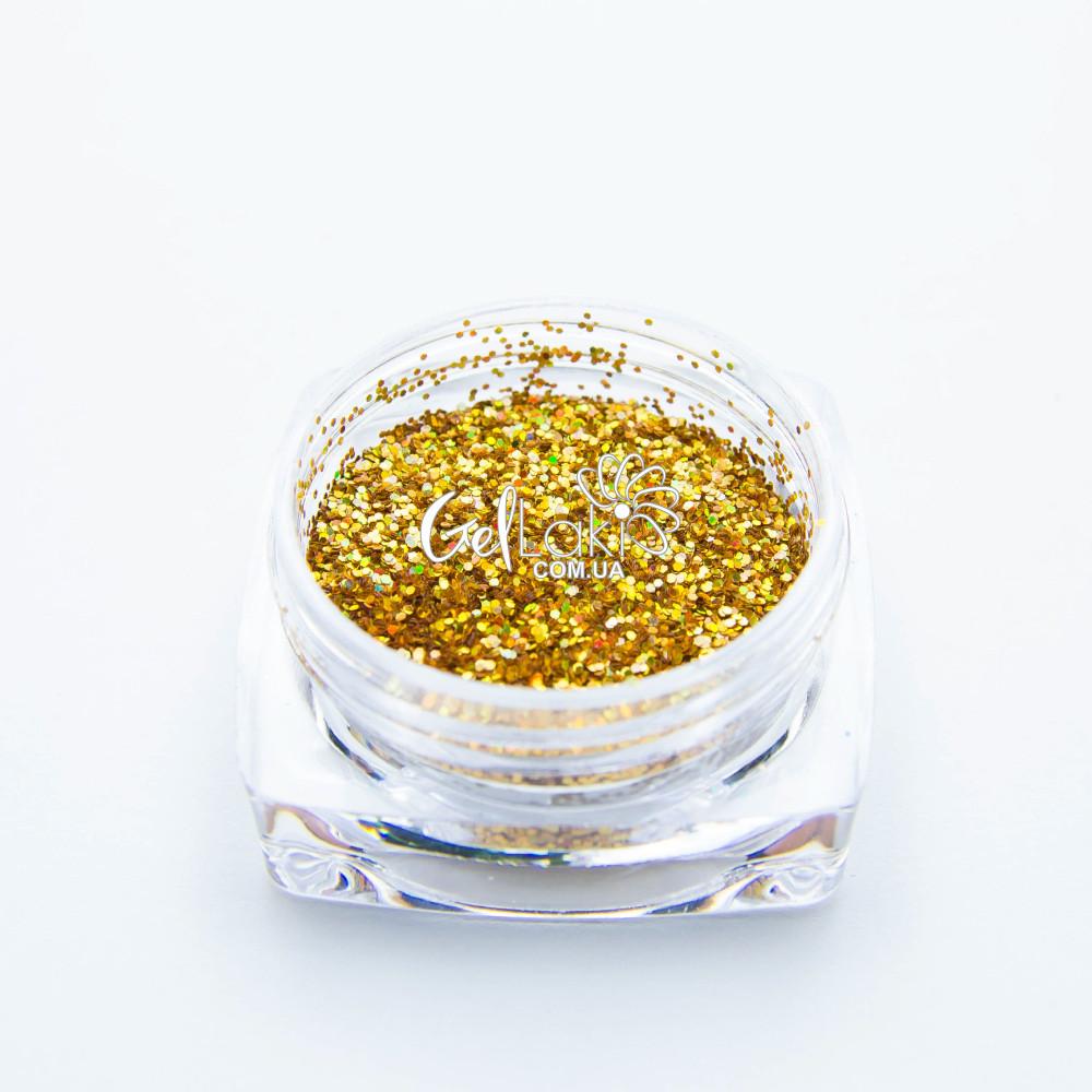 Шестигранники голографические для дизайна ногтей (золото), 015g