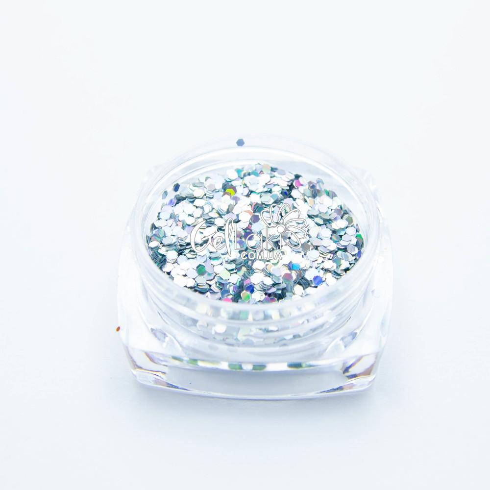 Шестигранники голографические для дизайна ногтей (серебро), 040s