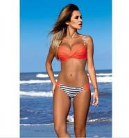 Женский купальник оранжевый с полосками