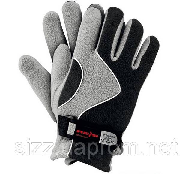 Перчатка флисовая черная с серым