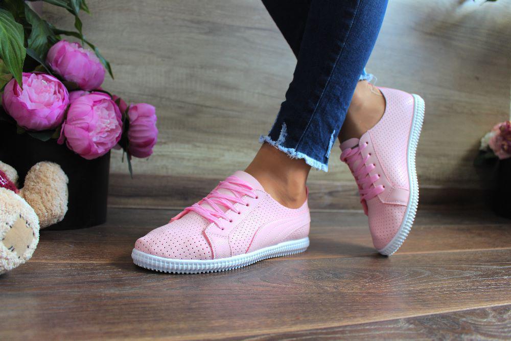 """Кроссовки  """"Fortune Pink""""( Мягкий кожзам/сквозная мелкая дырочка,Розовый)"""
