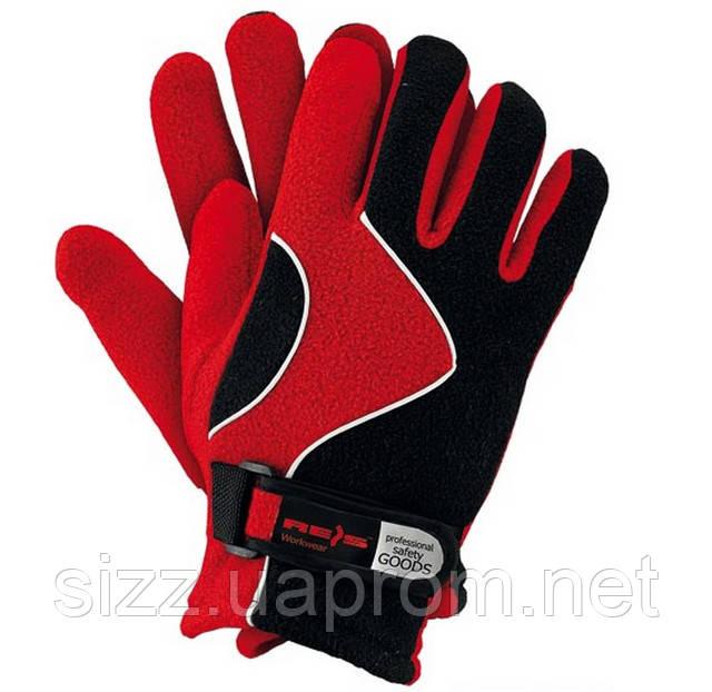 Перчатка флисовая черная с красным