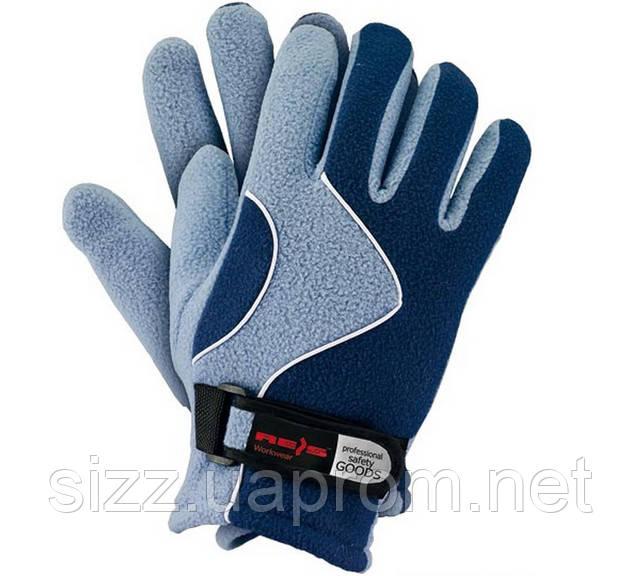 Перчатка флисовая т.синяя с голубым