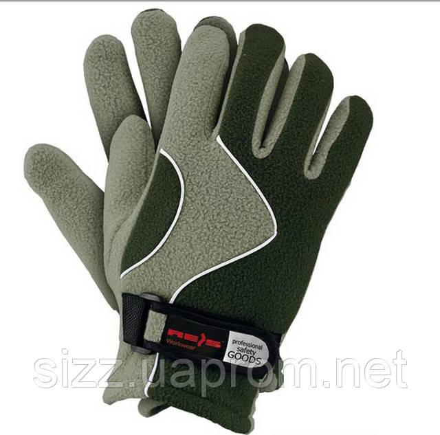 Перчатка флисовая олива с зеленым