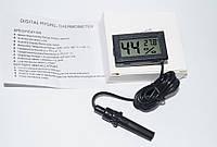 Гигрометр термометр цифровой с выносным датчиком черный с батарейками