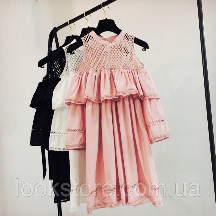 Женское модное платье с воланами, сеткой и и открытыми плечами розовое (пудра)