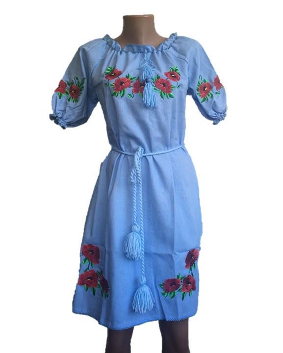 Голубое платье вышиванка с коротким рукавом