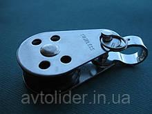 Нержавеющий мини-блок с пластиковым роликом и съемной проушиной, 6 мм