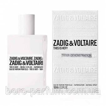 Тестер парфюмирвоанная вода женская Zadig&Voltaire This is Her, 100 ml