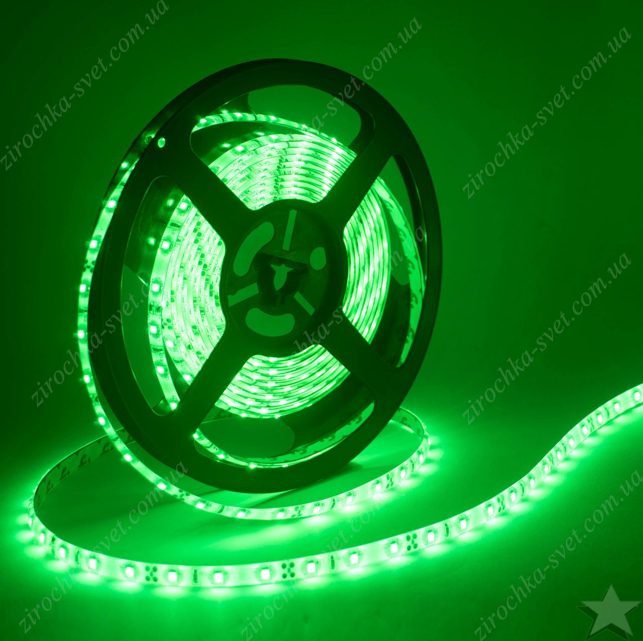 Светодиодная лента зеленая smd5050 12в 60шт/м  IP65 влагозащищенная (в силиконе) 14,4 Вт/м Motoko