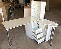 Маникюрный cтол с приставным столиком и бактерицидной УФ лампой,  Модель V240 белый, фото 1