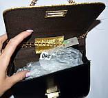 Женский черный блестящий клатч на цепочки 18*13 см, фото 2
