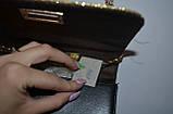 Женский черный блестящий клатч на цепочки 18*13 см, фото 3
