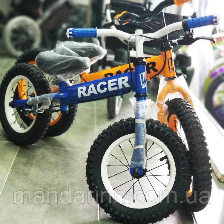 Беговел Racer BA12-04. Синий, оранжевый
