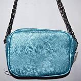 Женский голубой клатч с цепочкой на плечо 17*14 см, фото 2