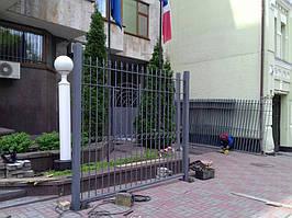 Откатные ворота, забор металлический (Киев, Посольство Франции в Украине) 12