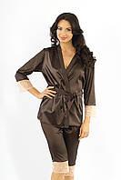 Элегантный комплект домашней одежды (костюм) с кружевами, коричневый цвет, размер S-M (EU38, RUS44)