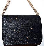 Женский черный клатч с блестками на цепочке 18*14 см, фото 2