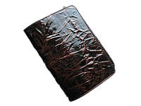 Темно-коричневая лаковая обложка для паспорта из натуральной кожи