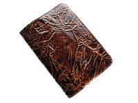 Светло-коричневая лаковая обложка для паспорта из натуральной кожи