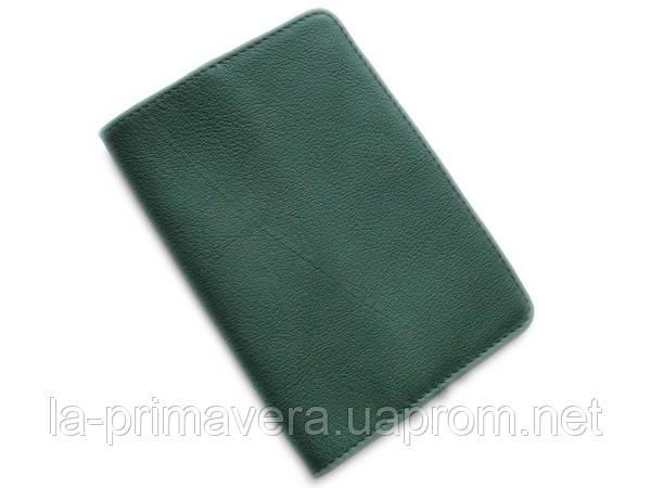 Зеленая обложка для паспорта из натуральной кожи