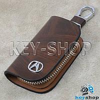 Ключница карманная (кожаная, коричневая, с узором, на молнии, с карабином, с кольцом), лого авто Acura (Акура)