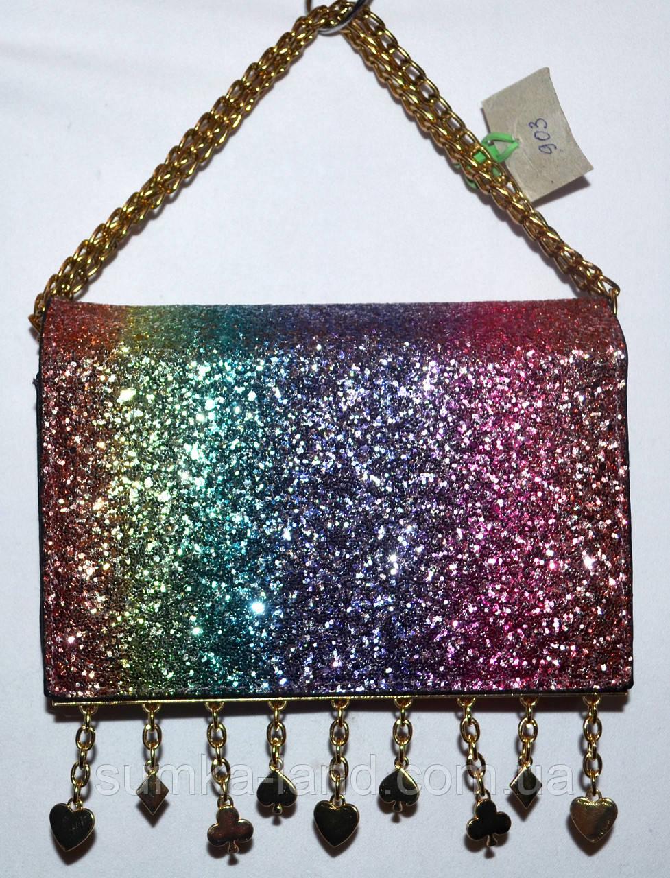 Женский блестящий разноцветный клатч на цепочке с украшением 18*14 см