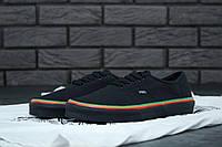 """Кеды текстильные унисекс Vans Authentic Black"""" Черные с полосками"""" р. 5-11 (36-44), фото 1"""