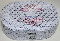 Голубая шкатулка для украшений, маленькая, Фламинго, фото 1