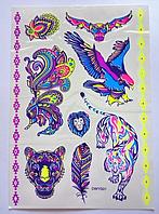 Люминесцентные Временные татуировки Звери,птицы