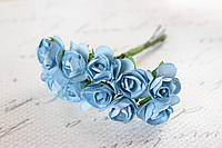 Декоративные бумажные цветочки 144 шт., розы 1,5 - 2 см на ножке голубого цвета оптом, фото 1