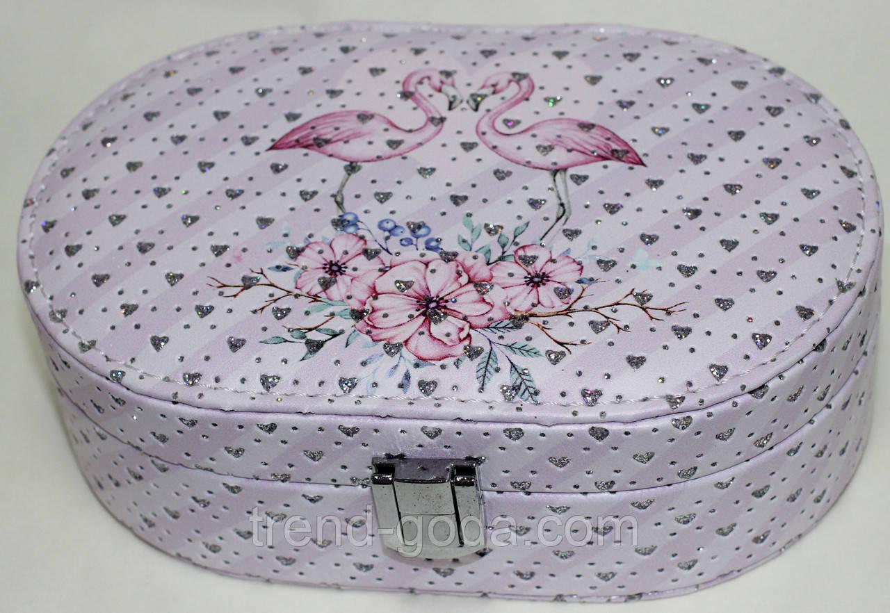 Розовая шкатулка для украшений, маленькая, Фламинго