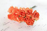 Декоративные бумажные цветочки 144 шт., розы 1,5 - 2 см на ножке оранжевого цвета оптом