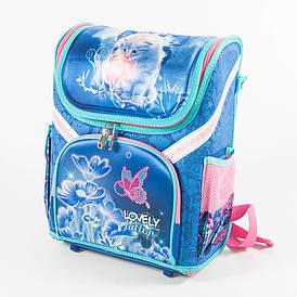 Школьный рюкзак для девочек с котиком - голубой - 18001