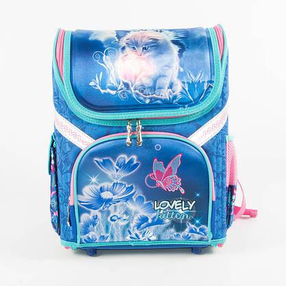 Школьный рюкзак для девочек с котиком - голубой - 18001, фото 2