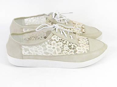 Женские туфли на шнурках бежевые кружевные