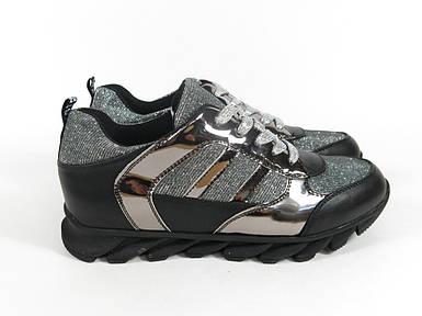 Черные кроссовки молодежные с серебристыми и серыми вставками