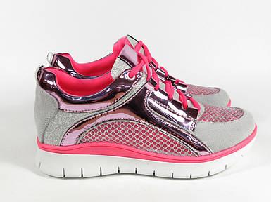 Розовые кроссовки с серебристым