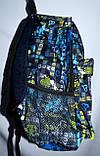 Спортивный текстильный голубой рюкзак с узором 25*36 см, фото 2
