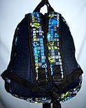 Спортивный текстильный черно-голубой рюкзак с надписями 25*36 см, фото 3
