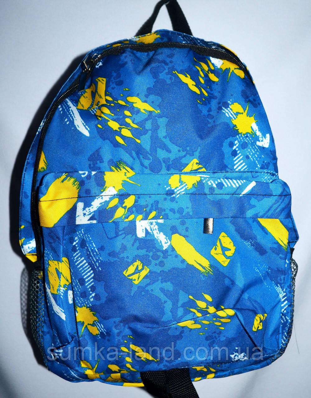 Спортивный текстильный голубой рюкзак с узором 25*36 см
